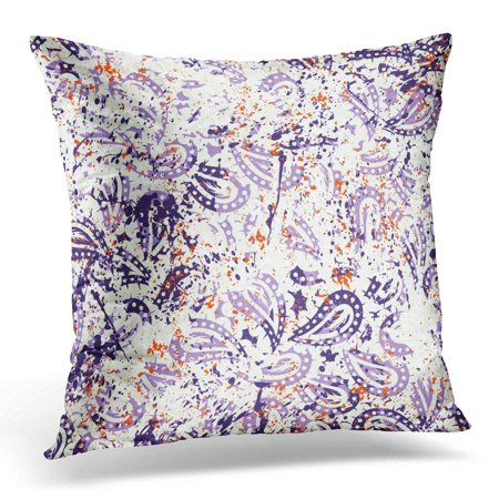 ARHOME Watercolor Paisley with Brushstrokes and Paint Splash Bold Bohemian with Vintage Ethnic Turkish Pillow Case Pillow Cover 18x18 inch