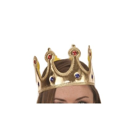 Gold Jeweled King Queen Crown Prince Princess Adult Costume Accessory Adjustable](King Accessories)