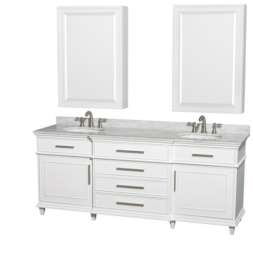 Wyndham Collection Berkeley 80 Inch Double Bathroom Vanity In White, White  Carrera Marble Countertop,