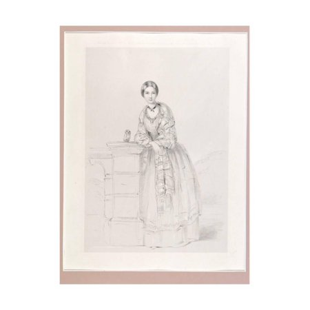 Florence Nightingale with Athena the Owl, Pub. P. and D. Colnaghi, 1855 Print Wall Art By Parthenope Nightingale