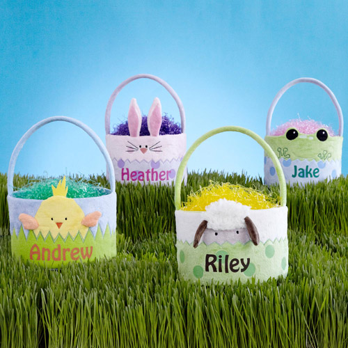 Personalized Eggstra Cute Easter Plush Basket, Available in 6 Styles
