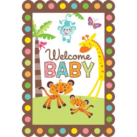Fisher Price Welcome Baby Animals of the Rainforest Invitations 16 Count Save the Date Stickers - Fisher Price Animals Of The Rainforest