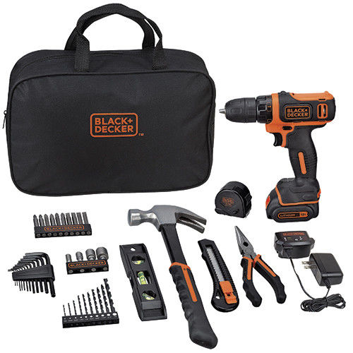 BLACK+DECKER BCPK1249C 12V MAX Dill and 42 piece Home Project Kit