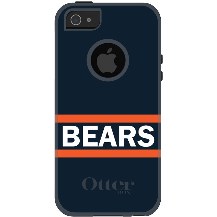 DistinctInk™ Custom Black OtterBox Commuter Series Case for Apple iPhone 5 / 5S / SE - Orange Navy Bears