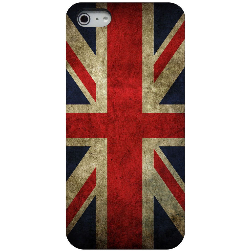 CUSTOM Black Hard Plastic Snap-On Case for Apple iPhone 5 / 5S / SE - Red White Blue British Flag Old