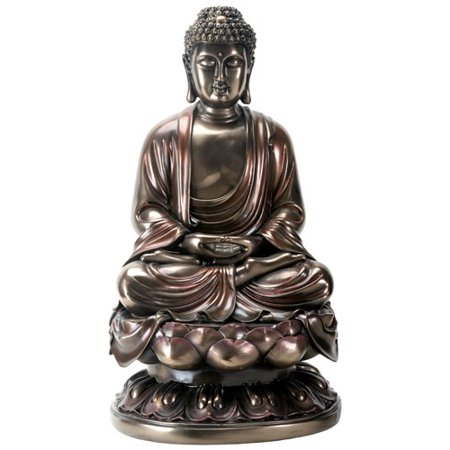 15 Inch Cold Cast Bronze Colored Resin Meditation Buddha -