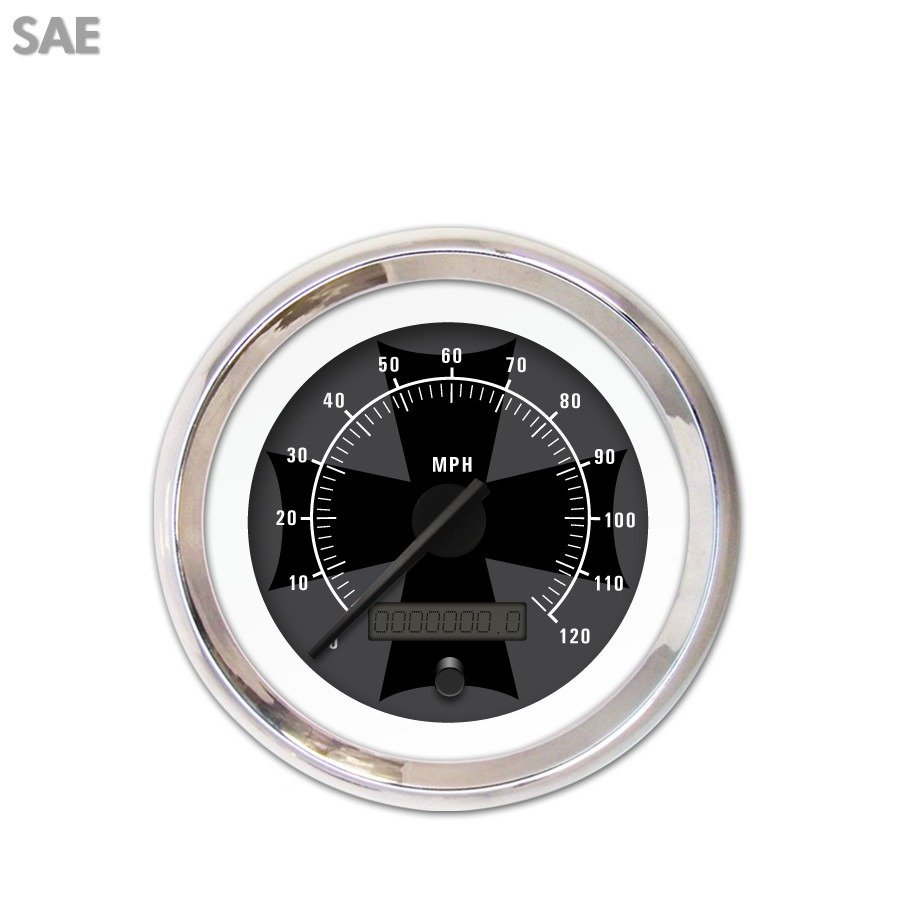 Aurora Speedometer Gauge - SAE Iron Cross Ash , Black Mod...