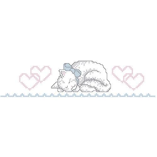 "Kitty Pillowcase Pair Stamped Cross Stitch, 20"" x 30"""