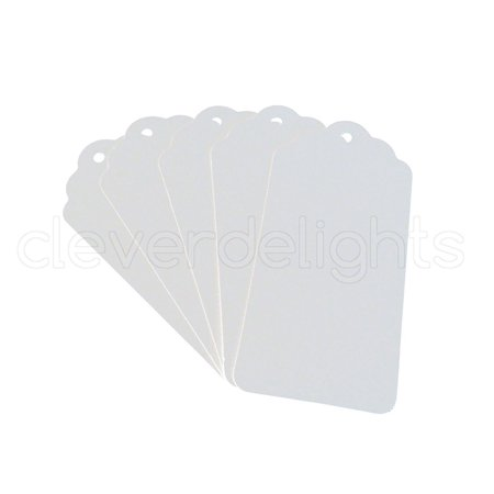 50 White Kraft Gift Tags - Scalloped Hang Tag - 3.75