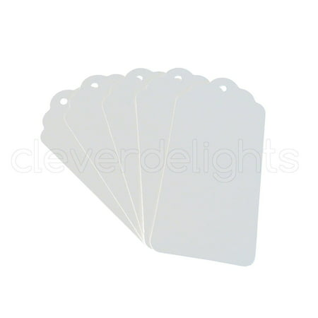 "50 White Kraft Gift Tags - Scalloped Hang Tag - 3.75"" x 1.75"" - By CleverDelights"