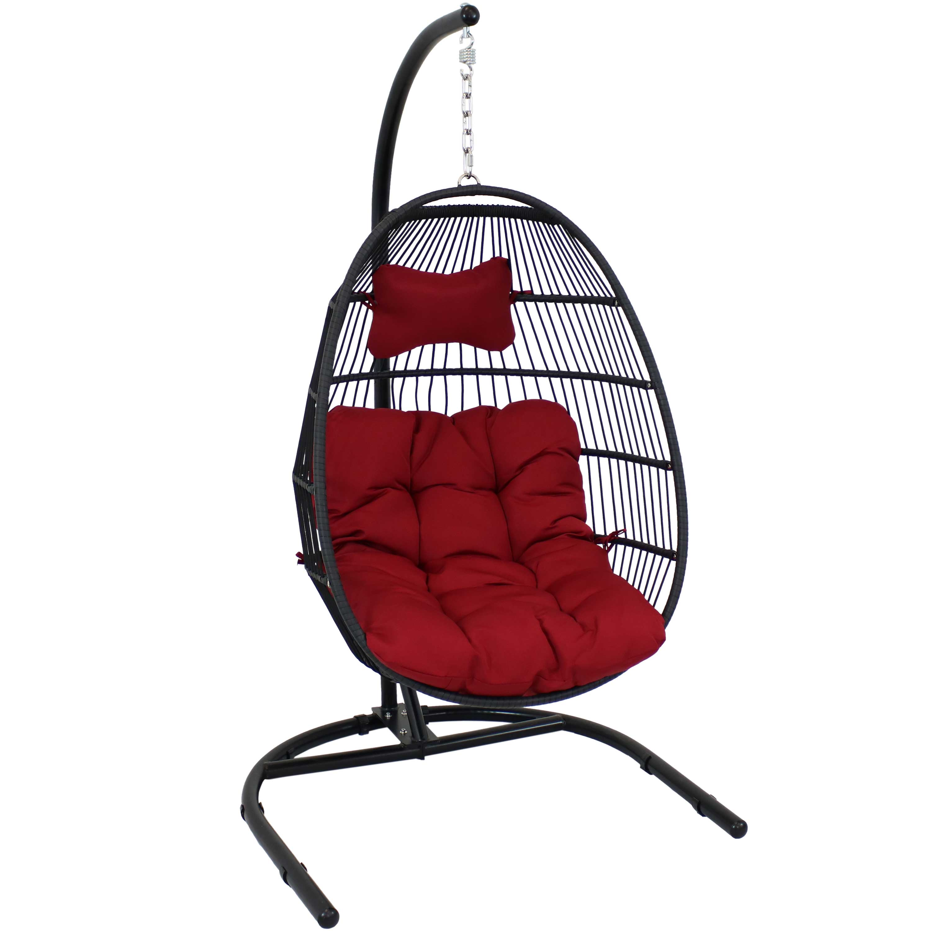 Sunnydaze Julia Hanging Egg Chair With Stand And Red Cushions Comfy Outdoor Collapsible Outdoor Hanging Chair With Stand Black Polyethylene Wicker Rattan Frame With Steel Stand 76 Inches Tall