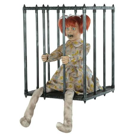Animated Girl Walking (Gray Caged Walk Around Animated Girl Child Halloween Costume)