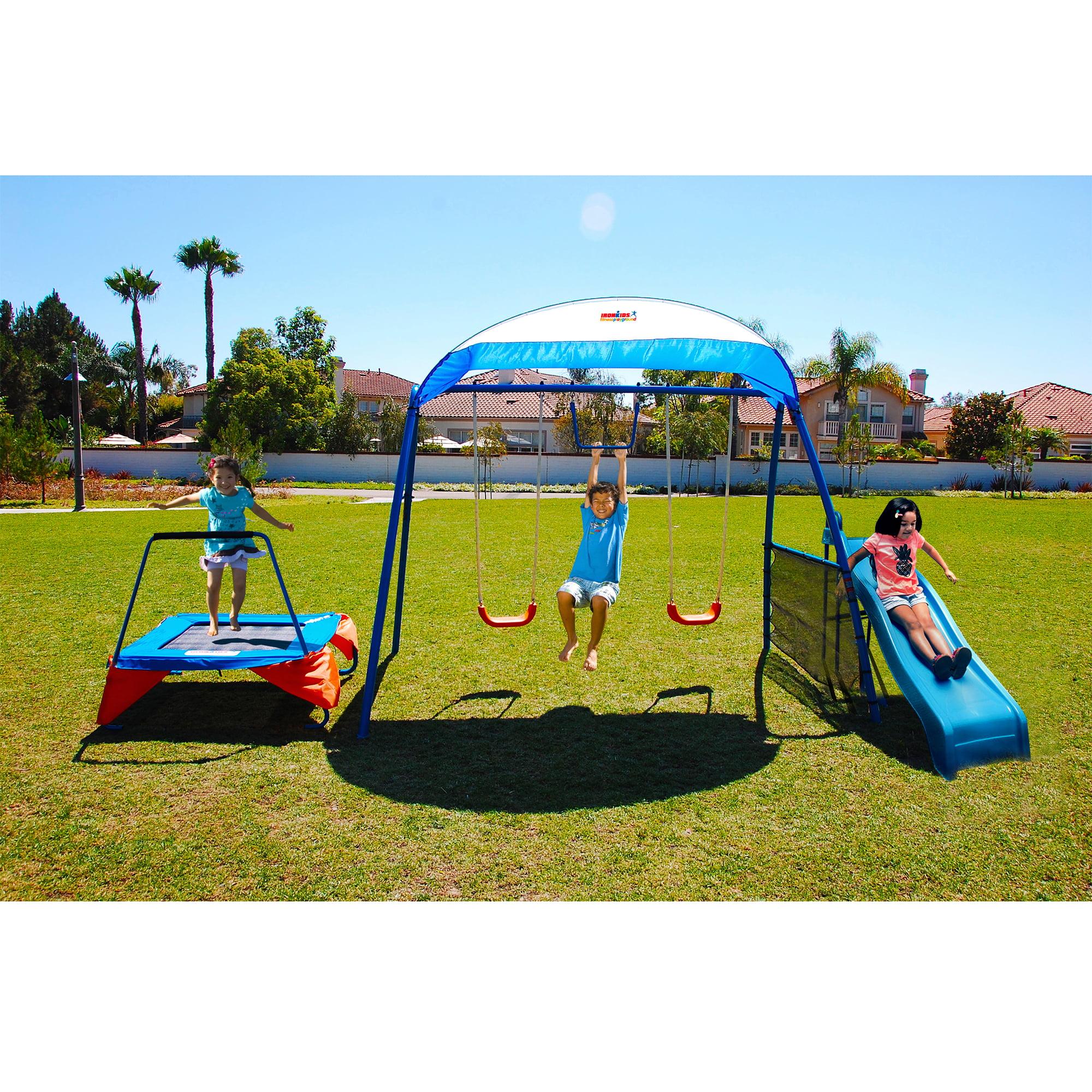 Details About Outdoor Swing Set Slide Trampoline Playground Backyard Metal Toddler Kids Fun