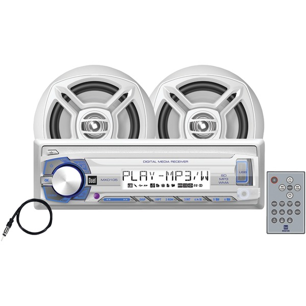 """DUAL MCP103 Marine Single-DIN In-Dash Mechless Digital Media Kit with AM/FM Receiver & 6.5"""" Speakers"""
