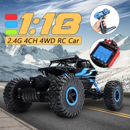 1/18 2.4G 4WD Rock Crawler RC Car Driving Cars Double Motors Drive Bigfoot Vehicle Remote Control Model Off-Road Vehicles Toy Color: Red/Green/Blue ()
