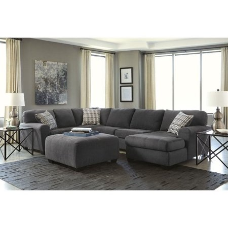 Fabulous Ashley Sorenton Right Facing 4 Piece Sectional With Ottoman In Slate Pabps2019 Chair Design Images Pabps2019Com