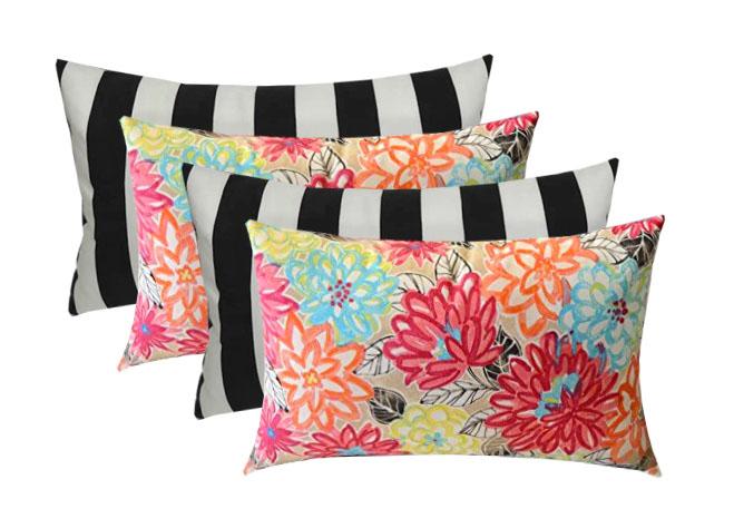 2-Artistic Pink Blue Coral Floral /& Watermelon Blue Coral Stripe Mixed Pillow Stripe Set RSH D/écor Indoor Outdoor Multi Set of 4-17x 17 Square Pillow Set Weather Resistant Choose Pillow Color