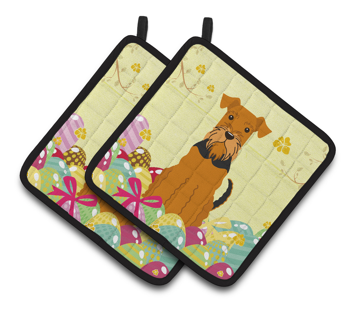 Caroline's Treasures Easter Eggs Airedale Pair of Pot Holders