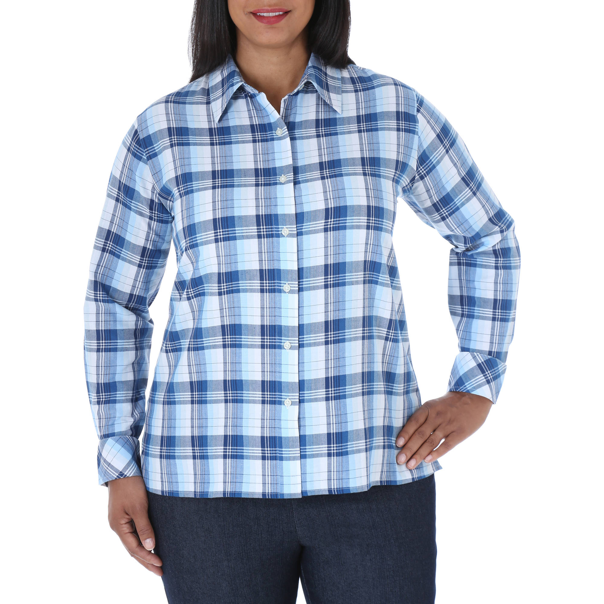 Chic Women's Plus-Size Comfort Collection Plaid Shirt