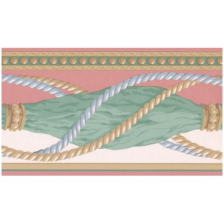 Prepasted Wallpaper Border - Green Faux Folded Curtains with Ropes Blush Red Wall Border Retro Design, Roll 15 ft. x 7 in.](Live Halloween Wallpapers For Windows 7)