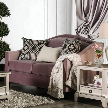 Transitional Fabric Upholstery Loveseat in Pink Campana by Furniture of America