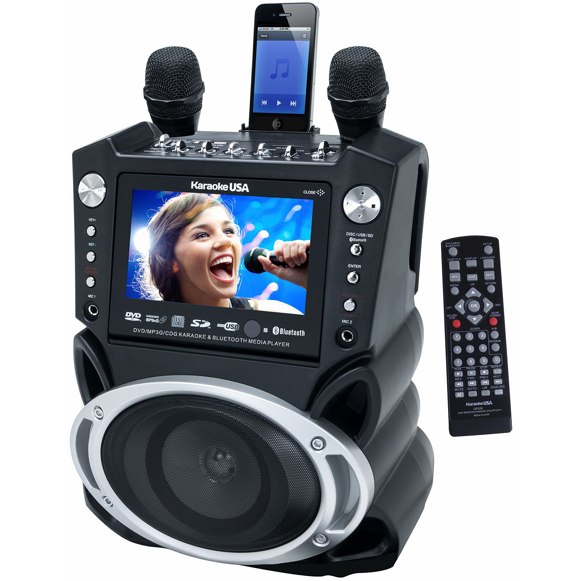 "Karaoke DVD/CD G/MP3 G Bluetooth Karaoke System with 7"" TFT Color Screen and Record Function"