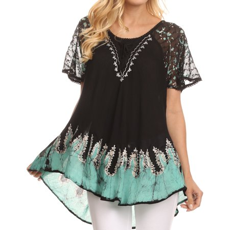 Sakkas Cora Relaxed Fit Batik Design Embroidery Cap Sleeves Blouse / Top - Black / Mint - One Size