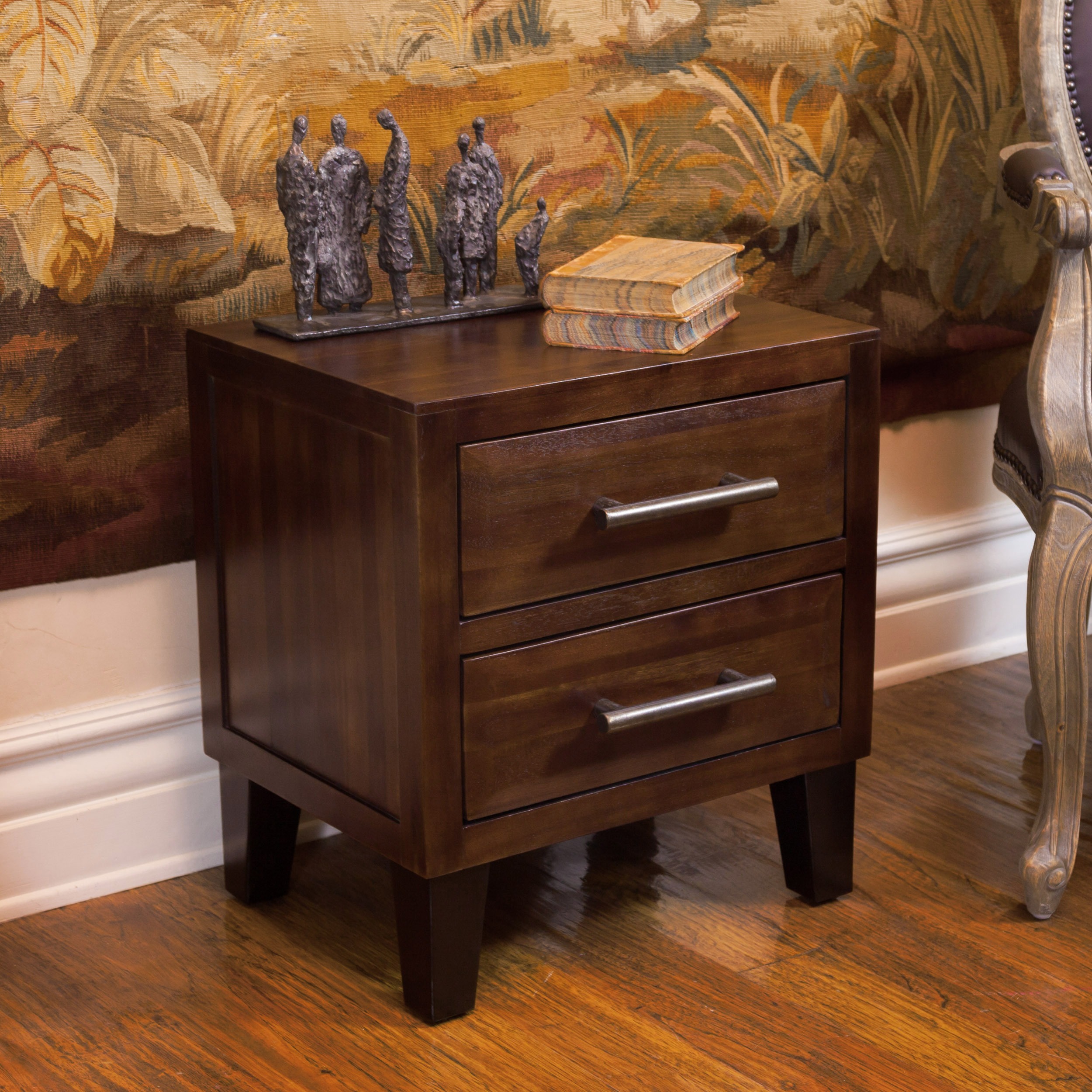 Brownstone Acacia Wood Two Drawer Night Stand