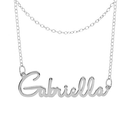 Personalized Sterling Silver, Gold Plated, 10k or 14k Single Nameplate Necklace With Double-Chain Choker, 18