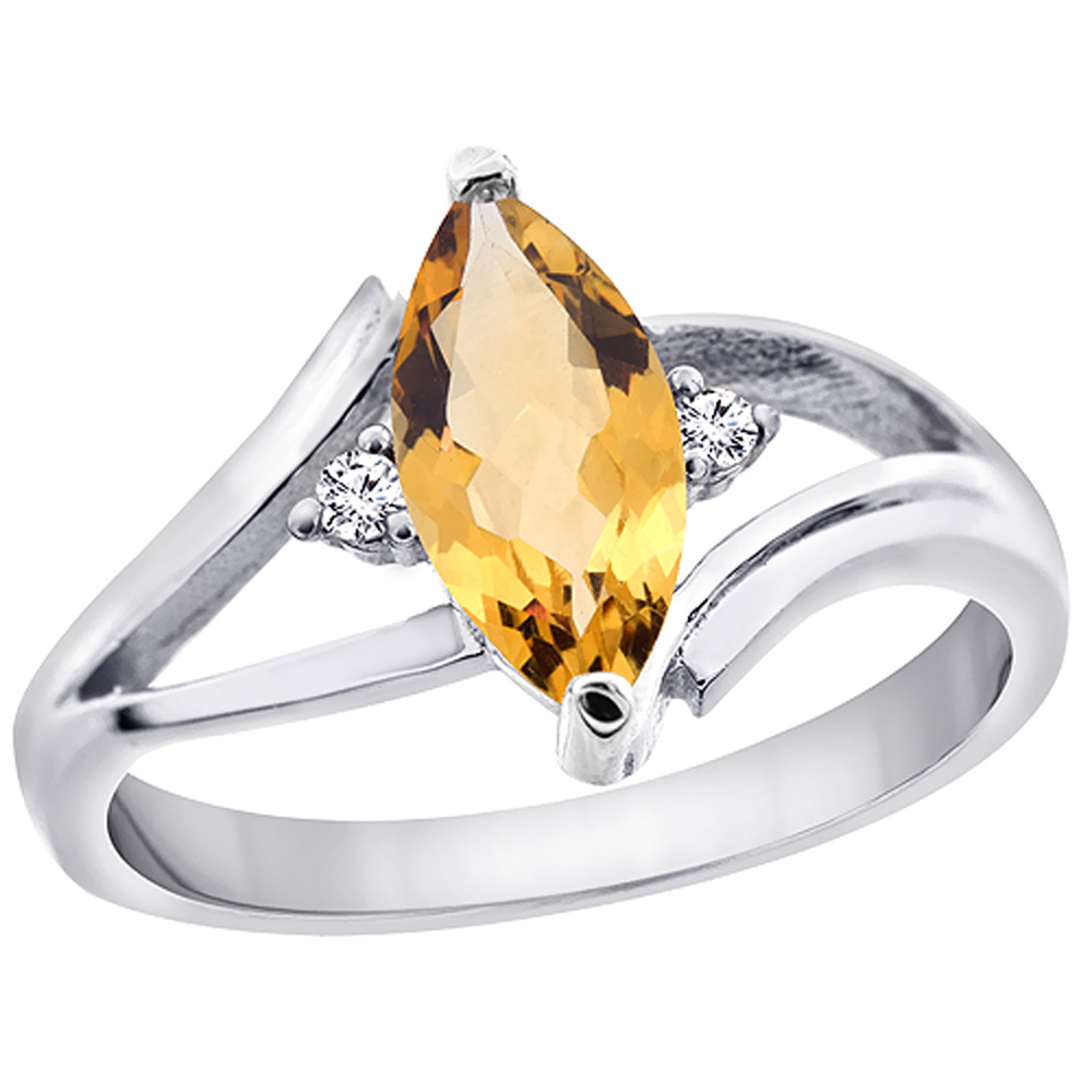 14K White Gold Natural Citrine Ring Marquise 10x5mm Diamond Accent, sizes 5 10 with half sizes by WorldJewels