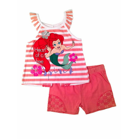 Disney Little Mermaid Infant Ariel Baby Toddler Outfit Peach Shirt Short Set](Ariel Outfit)