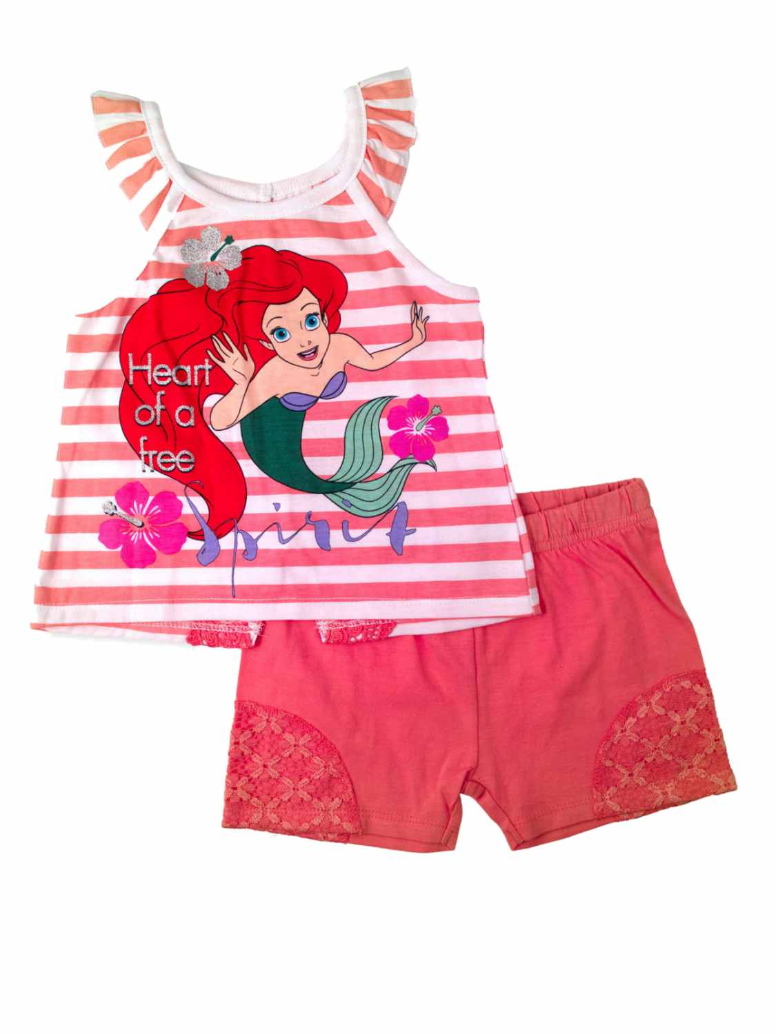 Disney Little Mermaid Infant Ariel Baby Toddler Outfit Peach Shirt Short Set
