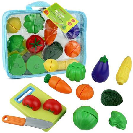 Click n' Play 12 pc Kids Pretend Play Cutting Vegetable Toy Set, Food Playset with Cutting Board and Knife - Carrying Case for Safe Storage](Kid Stores Online)
