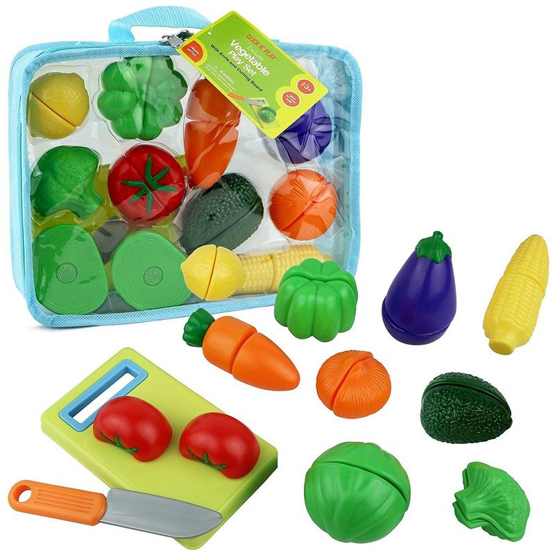 Click n' Play 12 pc Kids Pretend Play Cutting Vegetable Toy Set, Food Playset with Cutting Board and Knife - Carrying Case for Safe Storage