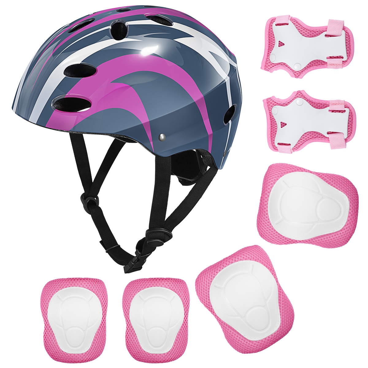 Details about  /7 Pcs Kids Protective Gear Set Cycling Helmet Knee Elbow Wrist Pads pink