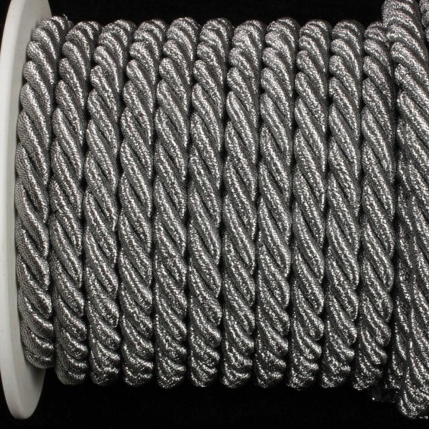 Pewter Metalized Braided Cording 9.5mm x 16 Yards