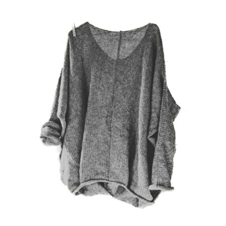 Women's Oversized Knitting Sweater Loose Blouse Pullover Plus Size Tops - Plus Cable Knit Trim Sweaters