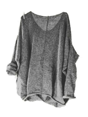 Women's Oversized Knitting Sweater Loose Blouse Pullover Plus Size Tops Shirt