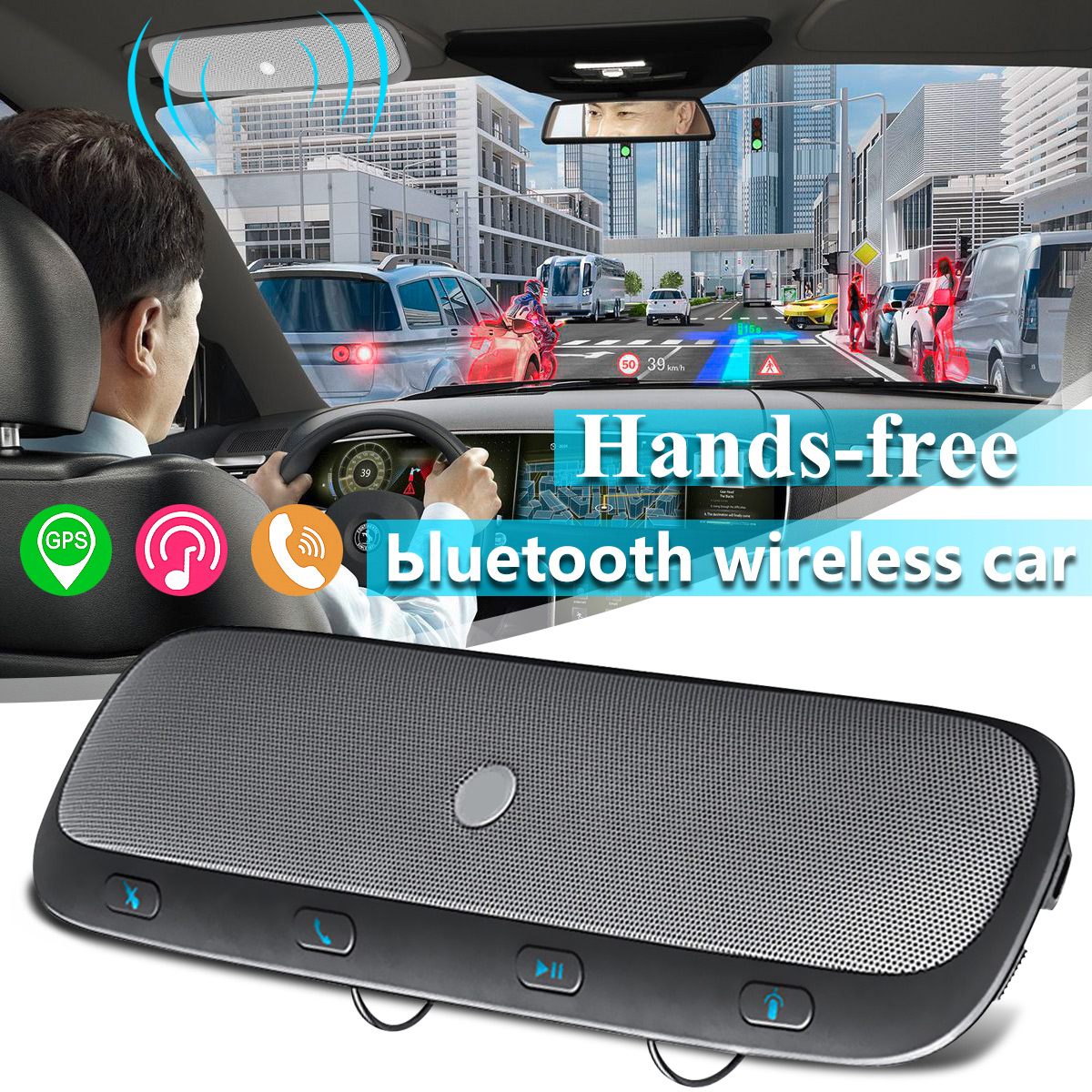 Wireless bluetooth Multipoint Handsfree Speakerphone Speaker Kit Car Sun Visor Clip With Iron Holder + Car Charger + USB Cable - Connecting TWO Phone At The Same Time