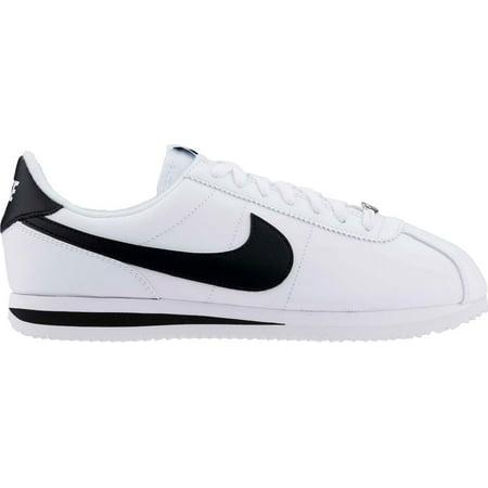 Nike Men's Cortez Basic Leather White/Black/Metallic Silver Casual Shoe ...