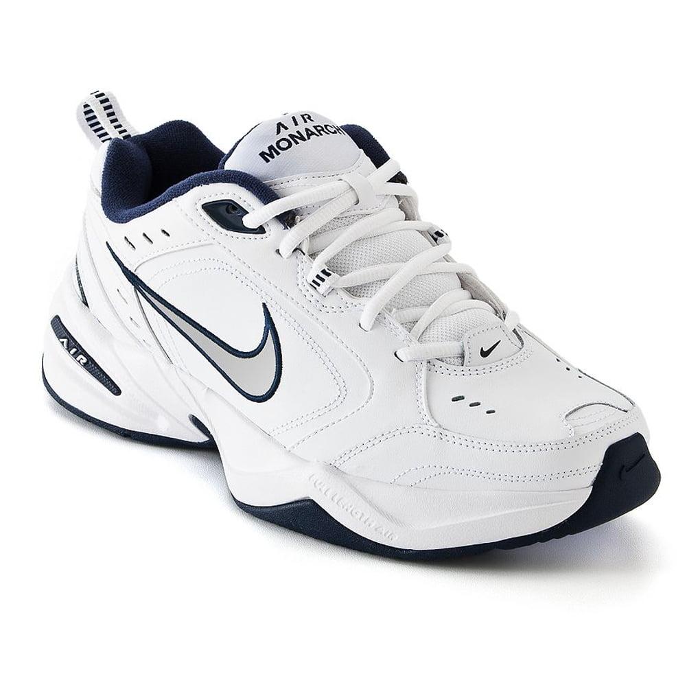 nike mens air monarch iv (4e) training shoe 416355 102 (white  metallic