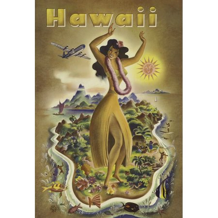 Airline travel poster to encourage vacations on the exotic Hawaiian islands  Hawaiian dancer in hula skirt and lei dancing on one of the Hawaiian islands airplane flies above scene  Art by Joseph Fehe](Hula Skirts And Leis)