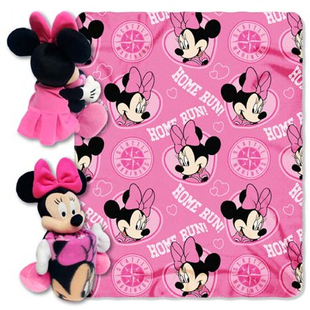 Seattle Mariners Minnie Mouse Pillow / Throw Combo