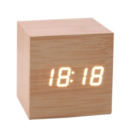 Ultra Modern Wooden LED Clock Square Cube Digital Alarm Thermometer Timer Calendar Updated 2019 Brighter Stylish Wood Clock (Alarm Clock Ultra)