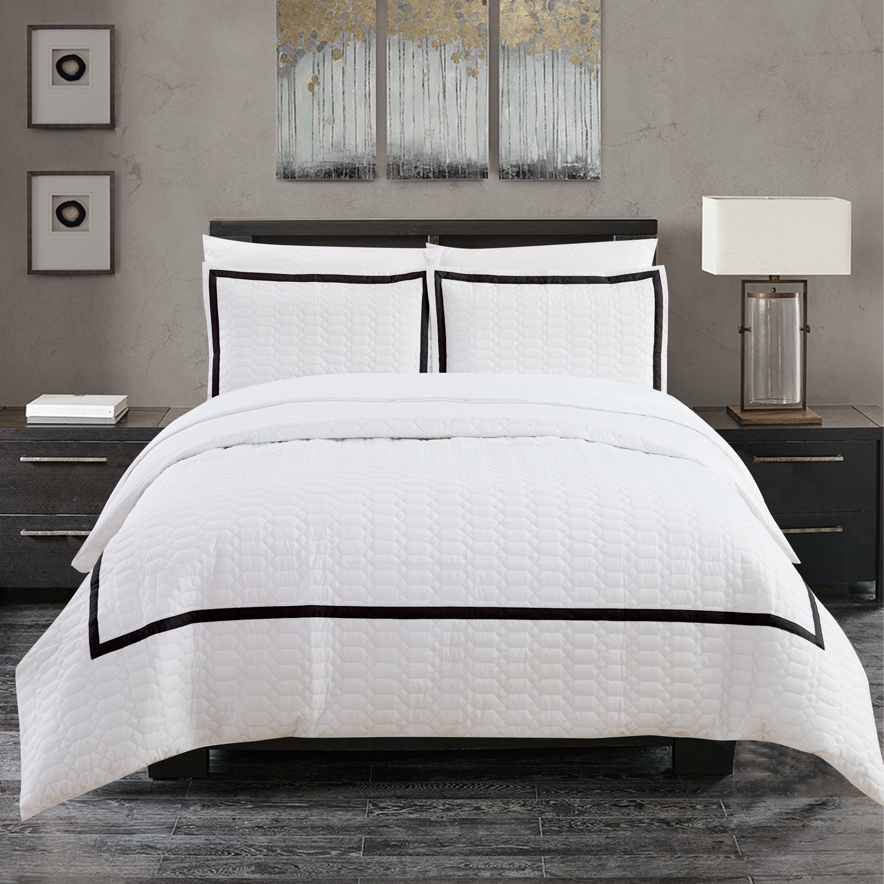 Chic Home Krystel 7 Piece Duvet Cover Set Hotel Collection Two Tone Banded Print Zipper Closure Bed in a Bag Bedding - Sheets Decorative Pillow Shams Included, King White