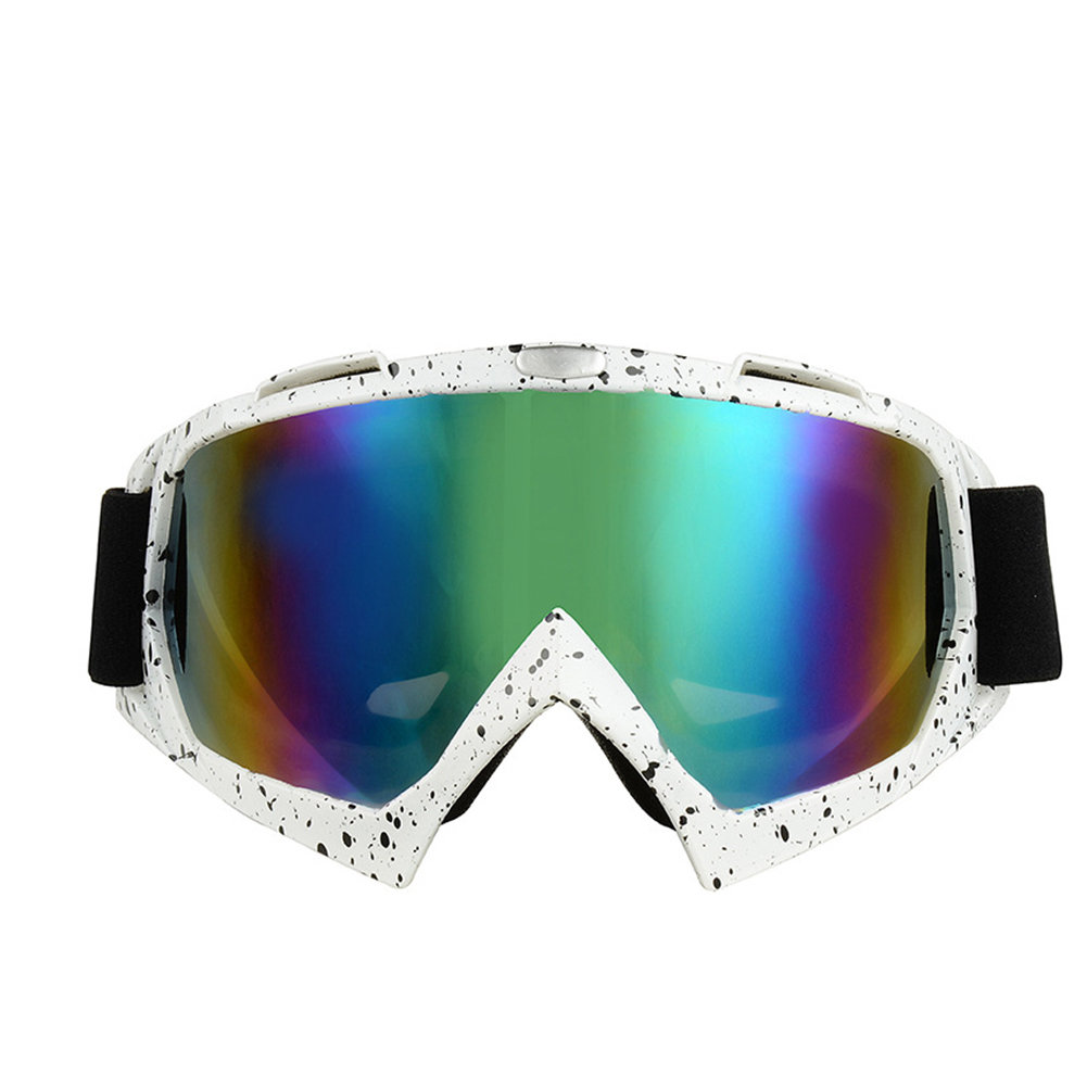 Windproof Anti-fog Skiing Goggles Snowmobile Bicycle Motorcycle UV Protection Glasses for Outdoor Sports (White + Black) by