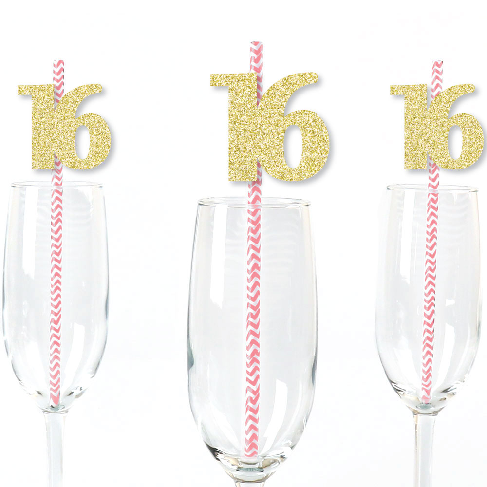 Gold Glitter 16 Party Straws - No-Mess Real Gold Glitter Cut-Out Numbers & Decorative 16th Birthday Paper Straws - 24 Ct