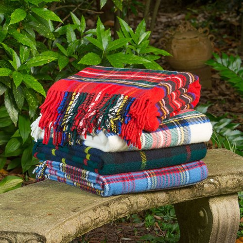 Gracie Oaks Welborn Royal Stewart Wool Throw