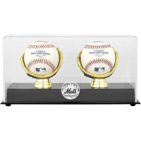 New York Mets Gold Glove Double Baseball Logo Display Case