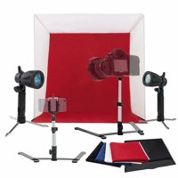 Kshioe 60cm Table Top Photo Photography Studio Lighting Light Tent Kit in a Box, Black & White & Red & Blue